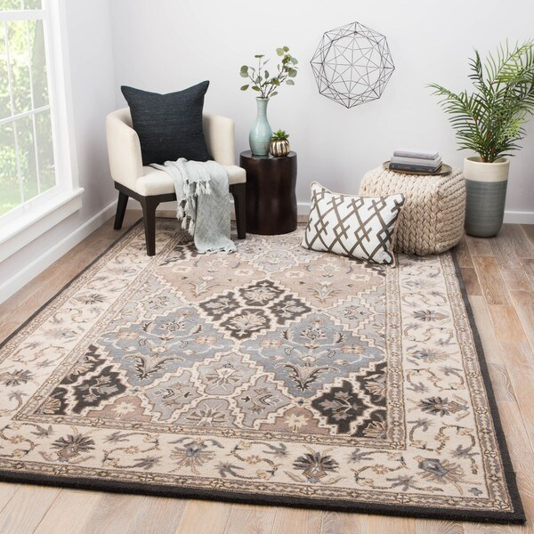 Calder Handmade Medallion Gray Tan Area Rug