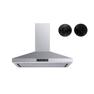 "Winflo O-W103C30SRF 30"" Convertible Stainless Steel Wall Mount Range Hood with Carbon Filters"