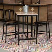 The Home Source Brown Metal Table and Saddle Back Stools