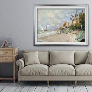 Boardwalk-on-the-Beach -Claude Monet - Premium Framed Print