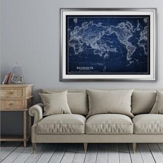 Vintage Wold Map IV Blue - Premium Framed Print