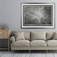 Vintage Paris Map Outline Grey - Premium Framed Print