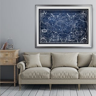 Vintage Wold Map III Blue - Premium Framed Print (3 options available)