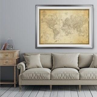 Vintage Wold Map v Parchment - Premium Framed Print
