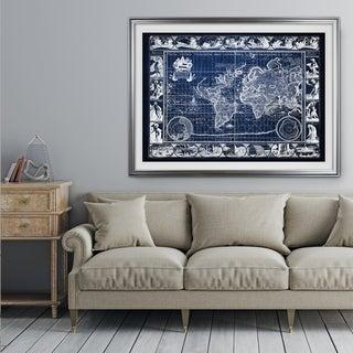 Vintage Wold Map VIIII Blue - Premium Framed Print