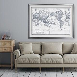 Vintage Wold Map IV Blue Outline - Premium Framed Print