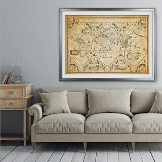 Vintage Wold Map III Parchment - Premium Framed Print