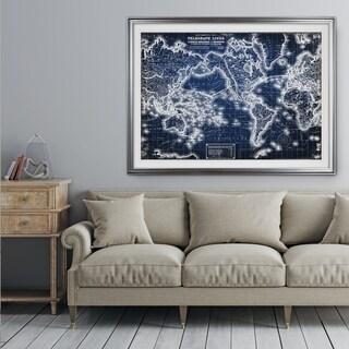 Vintage Wold Map VII Blue - Premium Framed Print