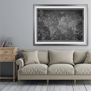 Vintage Wold Map V Grey - Premium Framed Print (3 options available)
