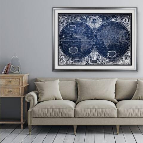 Blue Treasure Map - Premium Framed Print