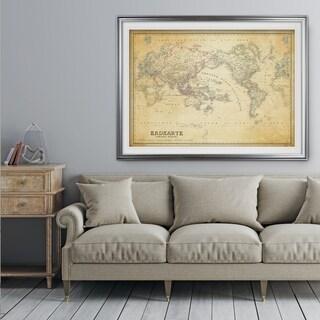 Vintage Wold Map IV Parchement - Premium Framed Print