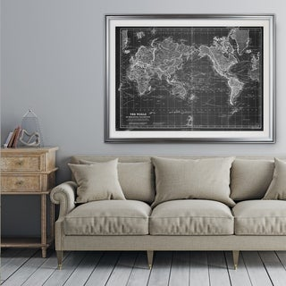 Vintage Wold Map VI Grey - Premium Framed Print