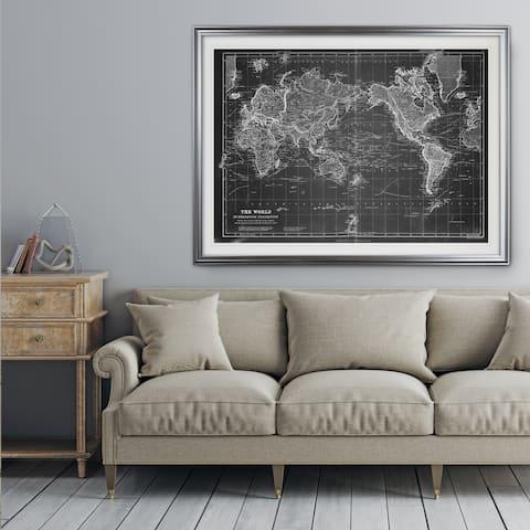 Vintage Wold Map VI Grey - Premium Framed Print