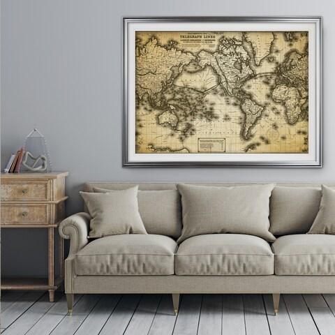 Vintage Wold Map VII Antique - Premium Framed Print