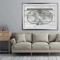 World Map Hemispheres - Premium Framed Print