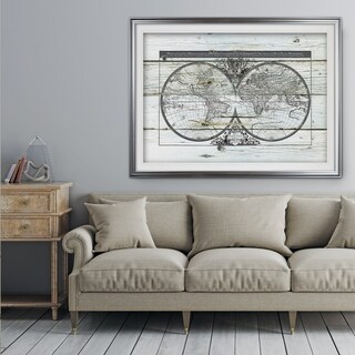 World Map Hemispheres - Premium Framed Print