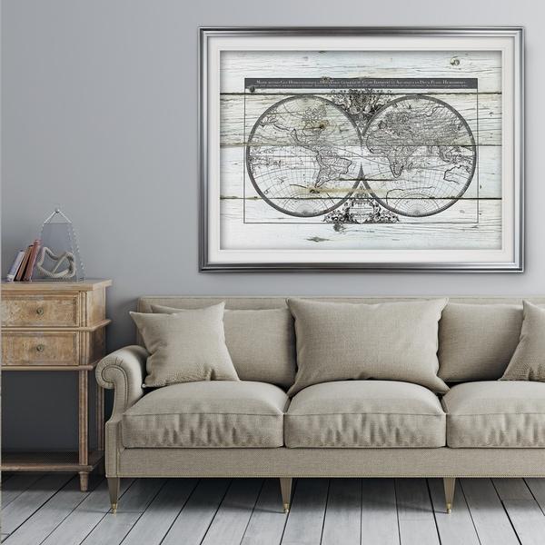 Shop World Map Hemispheres Premium Framed Print On Sale Free