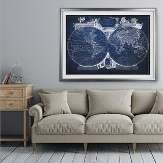 Vintage Wold Map VIII Blue - Premium Framed Print