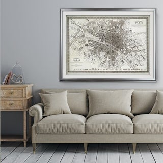 Vintage Paris Map Outline - Premium Framed Print