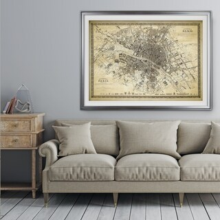 Vintage Paris Map Outline II - Premium Framed Print