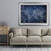 Vintage Wold Map v Blue - Premium Framed Print
