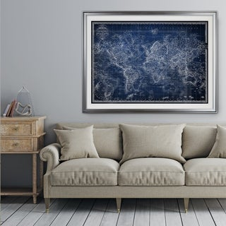 Vintage Wold Map v Blue - Premium Framed Print (3 options available)