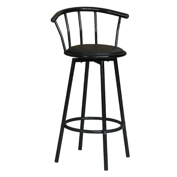 Shop Mason Black Metal Faux Leather Counter Height Stools