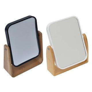 Magnifying Dual-Sided Pivoting Vanity Mirror Countertop Bamboo Base
