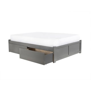 Link to Concord Queen Platform Bed with Flat Panel Foot Board and 2 Urban Bed Drawers in Atlantic Grey Similar Items in Bedroom Furniture