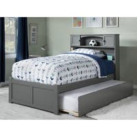 Newport Full Platform Bed with Flat Panel Foot Board and Twin Size Urban Trundle Bed in Atlantic Grey