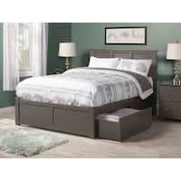 Madison Full Platform Bed with Flat Panel Foot Board and 2 Urban Bed Drawers in Atlantic Grey