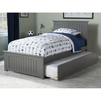 Nantucket Twin Platform Bed with Matching Foot Board with Twin Size Urban Trundle Bed in Atlantic Grey