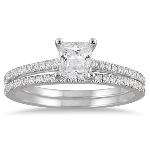 6c97636c1 Shop 1 Carat TW Princess Cut Diamond Bridal Set in 14K White Gold - On Sale  - Free Shipping Today - Overstock - 20585039