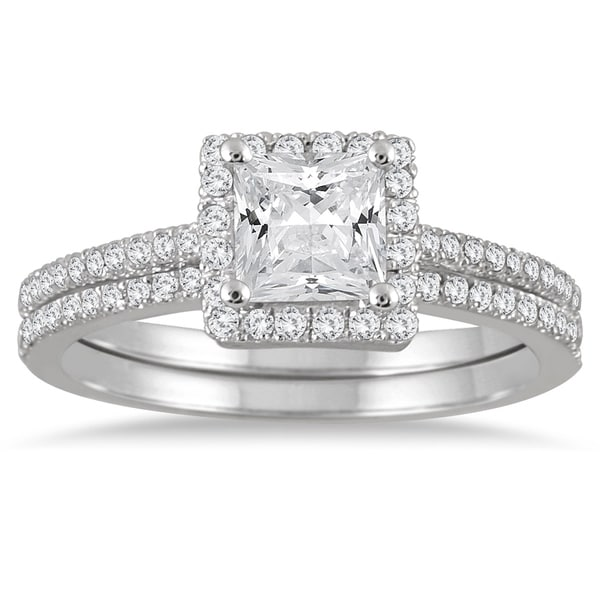 1b3a345d6 Shop 1 1/6 Carat TW Halo Princess Cut Diamond Bridal Set in 14K White Gold  - On Sale - Free Shipping Today - Overstock - 20585069