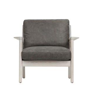 EKAIS Claire Aged Brown Wood and Fabric Single Sofa