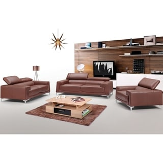 Luca Home Modern Saddle Brown Sofa and Love Set