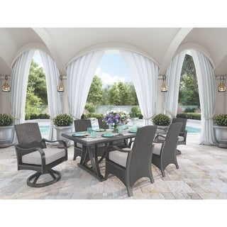 Signature Design by Ashley Marsh Creek Brown Outdoor Rectangular Dining Table with Umbrella Option