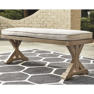 Signature Design by Ashley Beachcroft Outdoor Beige Dining Bench with Cushion
