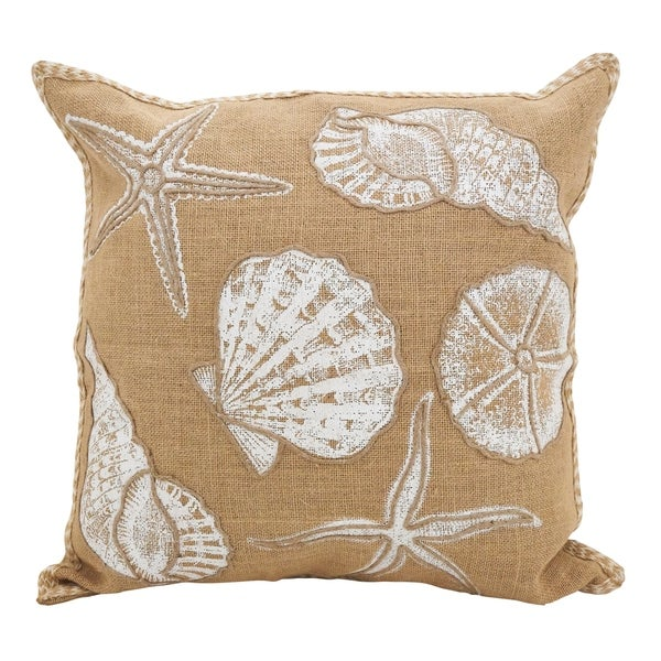 Seashells Down Filled JuteThrow Pillow