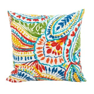 Paisley Poly Filled Outdoor Throw Pillow