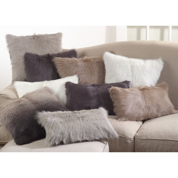 Glam Goat Fur Poly Filled Throw Pillow