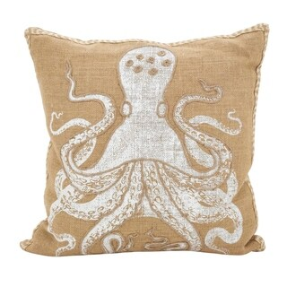 Octopus Down Filled Cotton Jute Throw Pillow