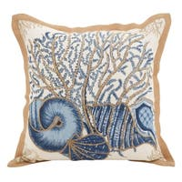 Seashells Filled Cotton Down Filled Throw Pillow