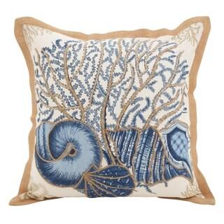 Seashells Filled Cotton Down Filled Throw Pillow
