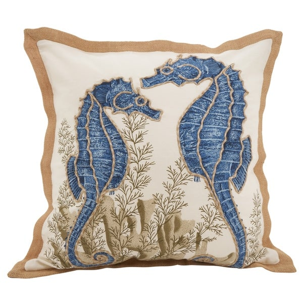 Seahorse Down Filled Cotton Throw Pillow