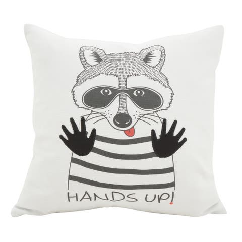 Racoon Hands Up Message Poly Filled Throw Pillow