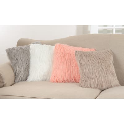 Faux Fur Long Hair Poly Filled Throw Pillow