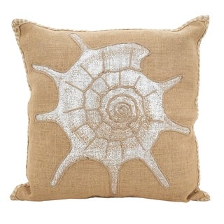 Spiral Seashell Down Filled Cotton Jute Throw Pillow