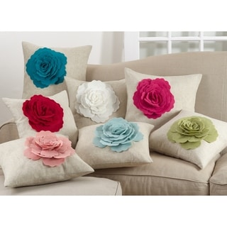 Rose Flower Statement Poly Filled Throw Pillow