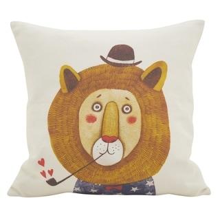 Lion Pipe Cotton Throw Pillow
